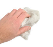 Dust Removing. Male hand with washrag isolated over white background. Clipping path included Stock Photos