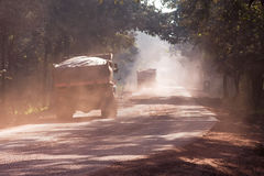 Dust on road in India stock images