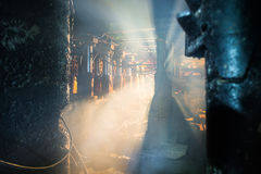 Dust and smoke in coal mine Royalty Free Stock Images