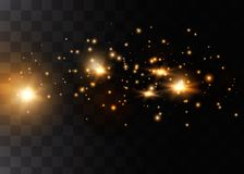 The dust sparks and golden stars shine with special light. Vector sparkles on a transparent background. Christmas light effect royalty free illustration