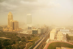 Dust storm in dubai, united arab emirates Royalty Free Stock Photos