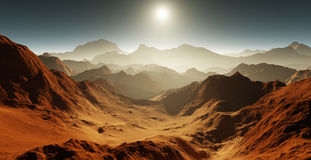 Dust storm on Mars. Sunset on Mars. Martian landscape with craters Royalty Free Stock Images