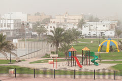 Dust storm. Playground in Saudi Arabia Stock Image