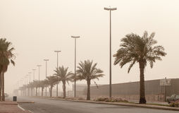 Dust storm on the street, Saudi Arabia Royalty Free Stock Images