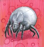 Dust tick on a pink background. Dust tick as drawn monster from nightmares Royalty Free Stock Photo