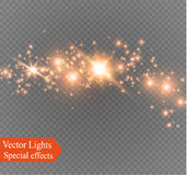 Dust on a transparent background.bright stars.The glow lighting effect. Vector illustration.the sun is shining. magic Stock Images