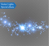 Dust on a transparent background.bright stars.The glow lighting effect. Vector illustration.the sun is shining. magic Stock Image