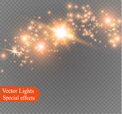 Dust on a transparent background.bright stars.The glow lighting effect. Vector illustration.the sun is shining. magic Royalty Free Stock Photo