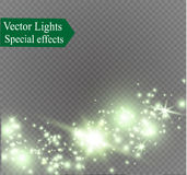 Dust on a transparent background.bright stars.The glow lighting effect. Vector illustration.the sun is shining. magic Royalty Free Stock Images