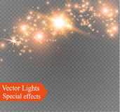 Dust on a transparent background.bright stars.The glow lighting effect. Vector illustration.the sun is shining. magic Royalty Free Stock Image