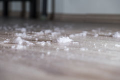 Dust on the wood floor. Dust and dirt dirt under the bed Stock Photo
