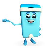 Dustbin Characte with presenting sign Royalty Free Stock Image
