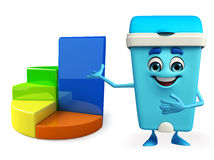 Dustbin Character with business graph Royalty Free Stock Photography
