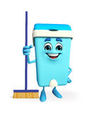 Dustbin Character with cleaning mop Royalty Free Stock Photos