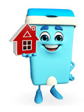 Dustbin Character with home Stock Photos