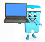 Dustbin Character with laptop Stock Photos