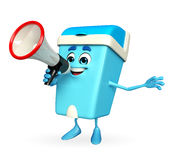 Dustbin Character with loudspeaker Royalty Free Stock Photo