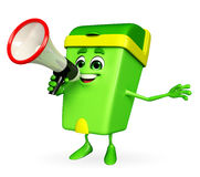 Dustbin Character with loudspeaker Stock Photography