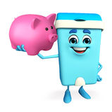 Dustbin Character with piggy bank Royalty Free Stock Images