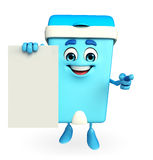 Dustbin Character with sign Stock Photo