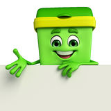 Dustbin Character with sign Royalty Free Stock Photo