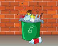 A dustbin. Illustration of a dustbin in front of a wall Royalty Free Stock Image