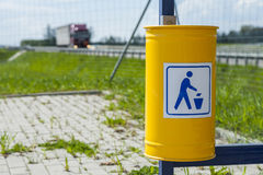 Dustbin near the road. Royalty Free Stock Photos