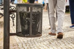 Dustbin in the park, a clean city. Stock Photos