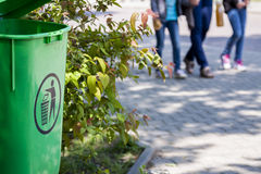 Dustbin in the park. Keep the city in clean. Space for text Royalty Free Stock Photo