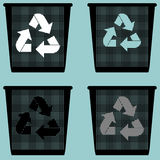 Dustbin with sign utilization pail bucket serene or with metal for paper icon. Dustbin with sign utilization pail bucket serene or with metal for paper icon set Royalty Free Stock Photos