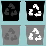 Dustbin with sign utilization pail bucket serene simple shape icon. Dustbin with sign utilization pail bucket serene simple shape icon set Stock Photos