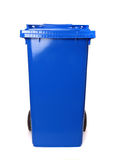 Dustbin. Single blue dustbin isolated on white Royalty Free Stock Photo