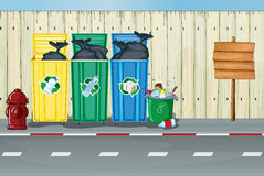 Dustbins, a fire hydrant and a notice board. Illustration of dustbins, a fire hydrant and a notice board on a roadside vector illustration