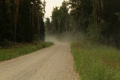 Dusted road. In the forest somewhere in Latvia Royalty Free Stock Photography