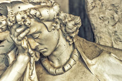 Dusted statue of crying angel Royalty Free Stock Images