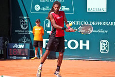 Dustin Brown. Receives a fast serve during a match of ATP Genoa Open Challenger 2011 (Italy Royalty Free Stock Photo