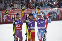 Dustin Cook , Kjetil Jansrud and Brice Roger 2015 World Cup in Meribel Stock Photo