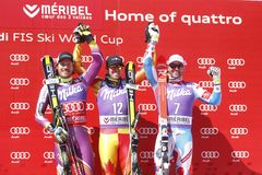 Dustin Cook , Kjetil Jansrud and Brice Roger 2015 World Cup in Meribel Stock Image