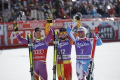 Dustin Cook , Kjetil Jansrud and Brice Roger 2015 World Cup in Meribel Stock Photography