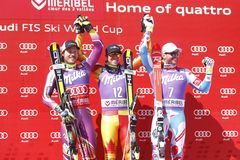 Dustin Cook , Kjetil Jansrud and Brice Roger 2015 World Cup in Meribel Royalty Free Stock Photography