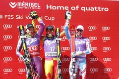 Dustin Cook , Kjetil Jansrud and Brice Roger 2015 World Cup in Meribel Royalty Free Stock Photo