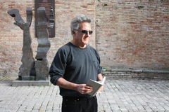 Dustin Hoffman in Urbin, Italy, for a commercial Stock Images