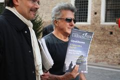 Dustin Hoffman in Urbin, Italy, for a commercial Stock Image