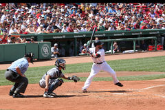 Dustin Pedroia batting at Fenway Park Royalty Free Stock Photography