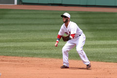 Dustin Pedroia que joga a segunda base em Fenway Park Fotografia de Stock Royalty Free