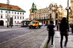 Dustmen and dustcart in Prague stock photography