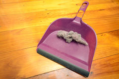 Dustpan with ball of dust Stock Image