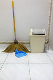 Dustpan bin broom. Tool use clean house Stock Image