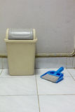 Dustpan bin broom. Tool use clean house Stock Photo