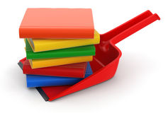 Dustpan and Books (clipping path included) Royalty Free Stock Images